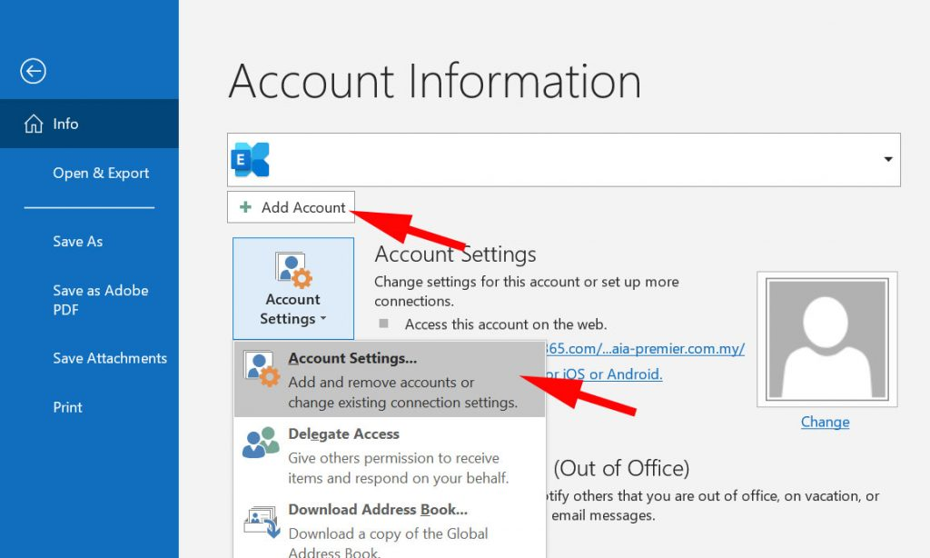 Account Setting at Outlook
